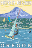 Hood River, OR - Wind Surfers & Kite Boarders Plastic Sign by  Lantern Press