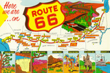 Map of Route 66 from Los Angeles to Chicago Znaki plastikowe autor Lantern Press