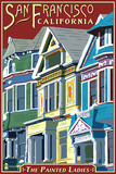 San Francisco, California - Painted Ladies Plastic Sign by  Lantern Press