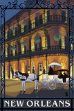 New Orleans, Louisiana, French Quarter Scene Plastic Sign by  Lantern Press