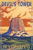 Wyoming, View of Devil's Tower Plastic Sign by  Lantern Press