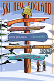New England - Ski Areas Sign Destinations Plastic Sign by  Lantern Press