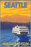 Ferry and Mountains, Seattle, Washington Plastic Sign by  Lantern Press