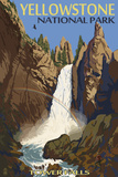 Tower Falls - Yellowstone National Park Targa di plastica di  Lantern Press