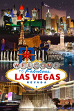 Las Vegas Casinos and Hotels Montage Plastic Sign by  Lantern Press
