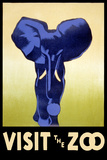 Visit the Zoo - Elephant Charging Plastic Sign by  Lantern Press