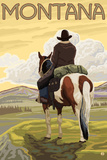Cowboy & Horse, Montana Plastic Sign by  Lantern Press