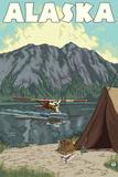Bush Plane and Fishing, Alaska Signe en plastique rigide par  Lantern Press