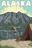 Bush Plane and Fishing, Alaska Plastic Sign by  Lantern Press
