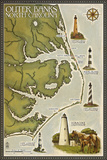 Lighthouse and Town Map - Outer Banks, North Carolina Plastic Sign by  Lantern Press
