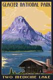 Two Medicine Lake - Glacier National Park, Montana Znaki plastikowe autor Lantern Press