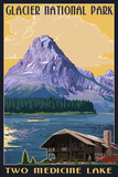 Two Medicine Lake - Glacier National Park, Montana Plastic Sign by  Lantern Press