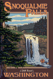 Snoqualmie Falls by Day, Washington Plastic Sign by  Lantern Press