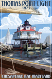Thomas Point Light - Chesapeake Bay, Maryland Signe en plastique rigide par  Lantern Press