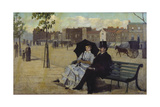 Walter Greaves and Alice Greaves on the Embankment Giclee Print by Walter Greaves