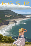 Big Sur, California Coast Scene Plastikschild von  Lantern Press