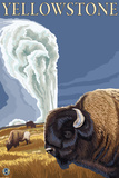 Yellowstone - Bison with Old Faithful Plastic Sign by  Lantern Press