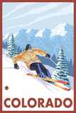 Downhill Snow Skier - Colorado Plastic Sign by  Lantern Press