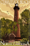 Currituck Lighthouse - Outer Banks, North Carolina Plastic Sign by  Lantern Press