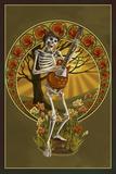 Skeleton and Guitar Kunststof bord van  Lantern Press