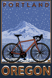 Mountain Bike in Snow - Portland, Oregon Plastic Sign by  Lantern Press