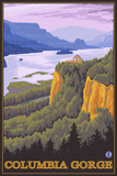 Columbia River Gorge Scene with Crown Point Plastic Sign by  Lantern Press