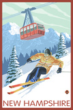 New Hampshire - Skier and Tram Plastic Sign by  Lantern Press