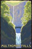 Multnomah Falls, Oregon - Maiden of the Falls Plastic Sign by  Lantern Press
