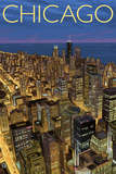 Chicago, Illinois, View of City from Sears Tower Plastic Sign by  Lantern Press