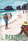 Horseshoe Bay Beach Scene - Bermuda Znaki plastikowe autor Lantern Press