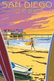 Lantern Press - San Diego, California - Ocean Beach - Plastik Tabelalar