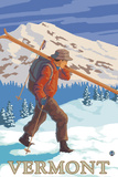Vermont - Skier Carrying Skis Plastic Sign by  Lantern Press