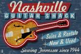 Reclameposter gitaarwinkel Nashville, Tennessee, Guitar Shack Kunststof bord van  Lantern Press