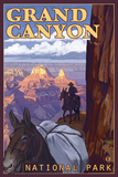 Grand Canyon National Park, Arizona, Mule Train Scene Plastic Sign by  Lantern Press