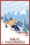 Vail, CO - Vail Downhill Skier Plastic Sign by  Lantern Press