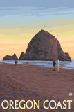 Haystack Rock, Cannon Beach, Oregon Plastic Sign by  Lantern Press