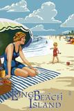 Long Beach Island, New Jersey Beach Scene Znaki plastikowe autor Lantern Press