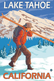 Skier Carrying Snow Skis, Lake Tahoe, California Plastic Sign by  Lantern Press