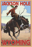 Jackson Hole, Wyoming Bucking Bronco Plastikschild von  Lantern Press