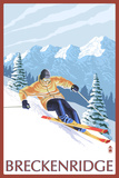 Breckenridge, Colorado, Downhill Skier Plastic Sign by  Lantern Press