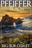 Pfeiffer Beach, California Plastic Sign by  Lantern Press