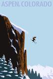 Skier Jumping - Aspen, Colorado Signes en plastique rigide par  Lantern Press