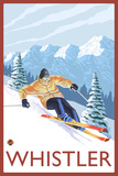 Downhhill Snow Skier, Whistler, BC Canada Plastic Sign by  Lantern Press
