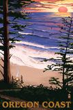 Oregon Coast Sunset Surfers Plastskilt av  Lantern Press