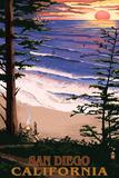 San Diego, California - Ocean & Sunset Plastskilt av  Lantern Press