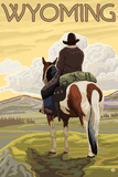 Cowboy & Horse, Wyoming Plastic Sign by  Lantern Press