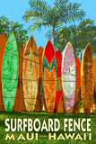 Maui, Hawaii - Surfboard Fence Plastic Sign by  Lantern Press