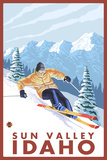 Downhhill Snow Skier, Sun Valley, Idaho Plastic Sign by  Lantern Press