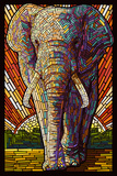 Elephant - Paper Mosaic Plastic Sign by  Lantern Press