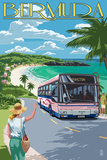 Bermuda - Pink Bus on Coastline Plastic Sign by  Lantern Press